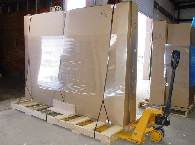 TV Bed packaged and on a pallet