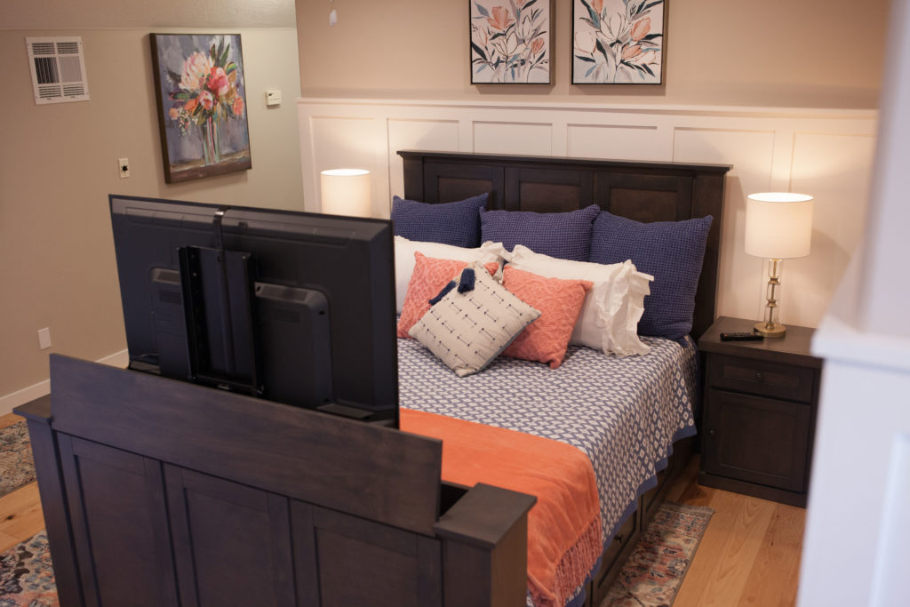 Hartford TV lift bed in driftwood finish