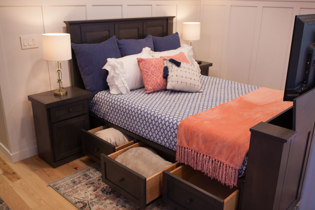Hartford TV lift bed shown in driftwood finish