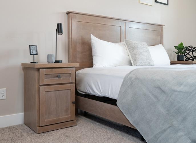 Hudson TV Bed with Coastal Mist finish